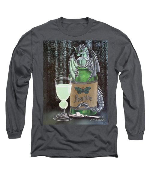 Long Sleeve T-Shirt featuring the painting Absinthe Dragon by Mary Hoy