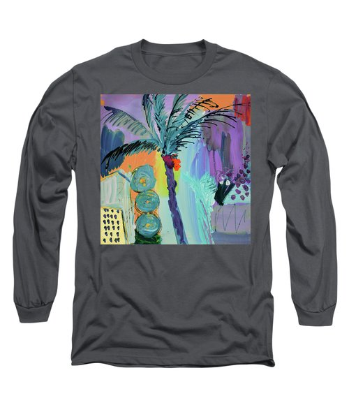 Abtract, Landscape With Palm Tree In California Long Sleeve T-Shirt by Amara Dacer