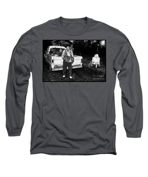 Accordion Scrapper Man  Long Sleeve T-Shirt by Peter Gumaer Ogden