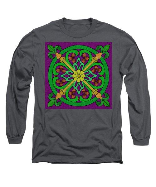 Acorn On Dark Purple Long Sleeve T-Shirt by Curtis Koontz