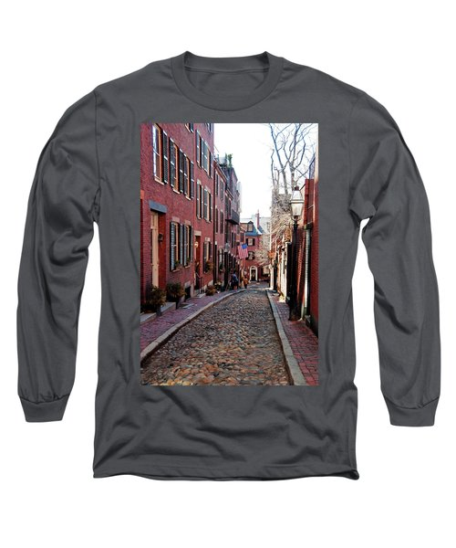 Long Sleeve T-Shirt featuring the photograph Acorn Street Beacon Hill by Wayne Marshall Chase