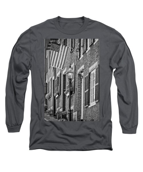 Long Sleeve T-Shirt featuring the photograph Acorn Street Details Bw by Susan Candelario