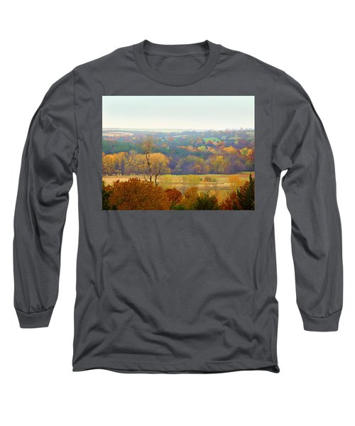 Across The River In Autumn Long Sleeve T-Shirt