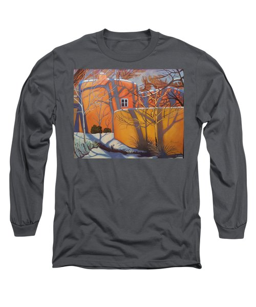 Adobe, Shadows And A Blue Window Long Sleeve T-Shirt by Art West