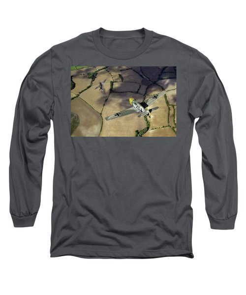 Long Sleeve T-Shirt featuring the photograph Adolf Galland Attacking Spitfire by Gary Eason