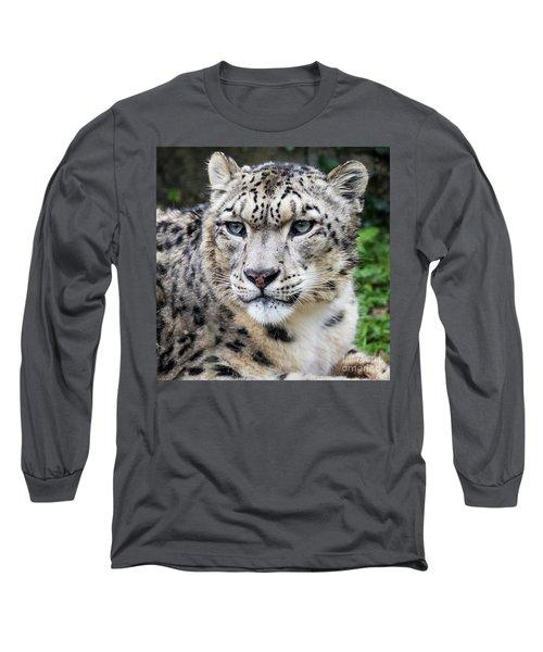 Adult Snow Leopard Portrait Long Sleeve T-Shirt