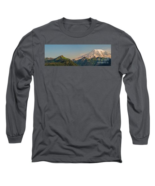 Aerial Mount Rainier And Tatoosh Range Panorama Long Sleeve T-Shirt