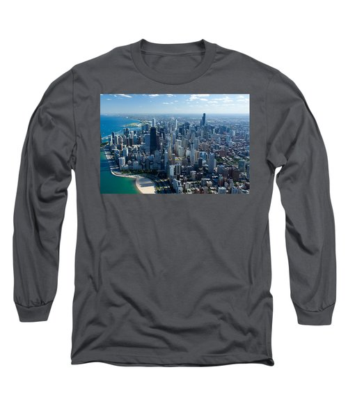 Aerial View Of A City, Lake Michigan Long Sleeve T-Shirt by Panoramic Images