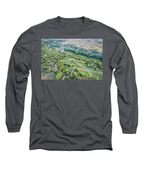 aerial view of Dismal River in Nebraska Sandhills Long Sleeve T-Shirt