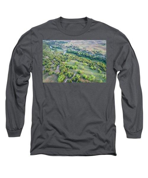 aerial view of Dismal River in Nebraska Sandhills Long Sleeve T-Shirt