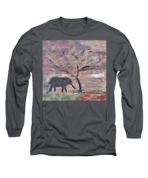 Long Sleeve T-Shirt featuring the painting African Landscape Baby Elephant And Banya Tree At Watering Hole With Mountain And Sunset Grasses Shr by MendyZ