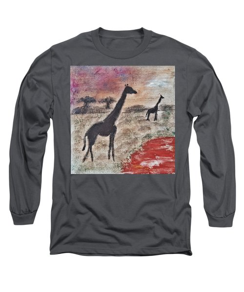 Long Sleeve T-Shirt featuring the painting African Landscape Giraffe And Banya Tree At Watering Hole With Mountain And Sunset Grasses Shrubs Sa by MendyZ