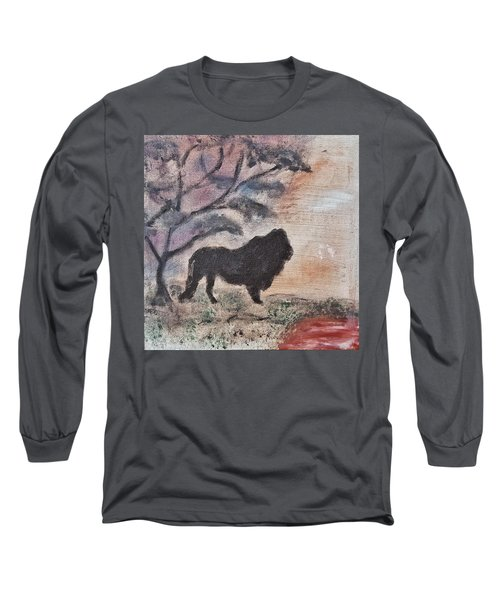 Long Sleeve T-Shirt featuring the painting African Landscape Lion And Banya Tree At Watering Hole With Mountain And Sunset Grasses Shrubs Safar by MendyZ