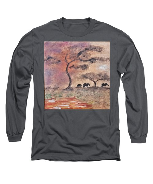 Long Sleeve T-Shirt featuring the painting African Landscape Three Elephants And Banya Tree At Watering Hole With Mountain And Sunset Grasses S by MendyZ