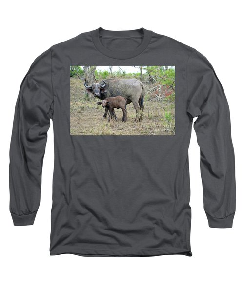 African Safari Mother And Baby Buffalo Long Sleeve T-Shirt by Eva Kaufman