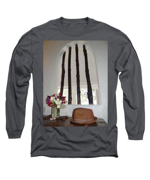 African Table With Flowers And Hat Long Sleeve T-Shirt