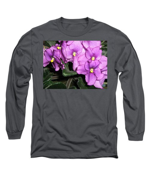 African Violets Long Sleeve T-Shirt by Barbara Yearty