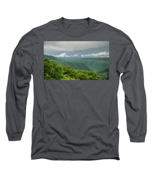 Long Sleeve T-Shirt featuring the photograph After The Rain - The Bluestone Gorge At Pipestem State Park by Kerri Farley