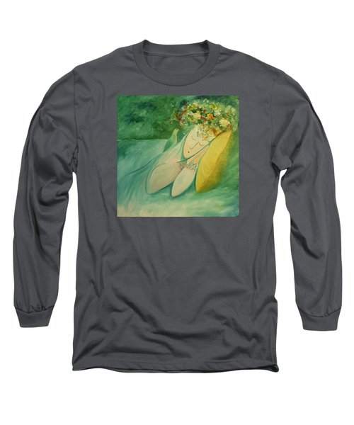 Long Sleeve T-Shirt featuring the painting Afternoon Nap In The Garden by Tone Aanderaa