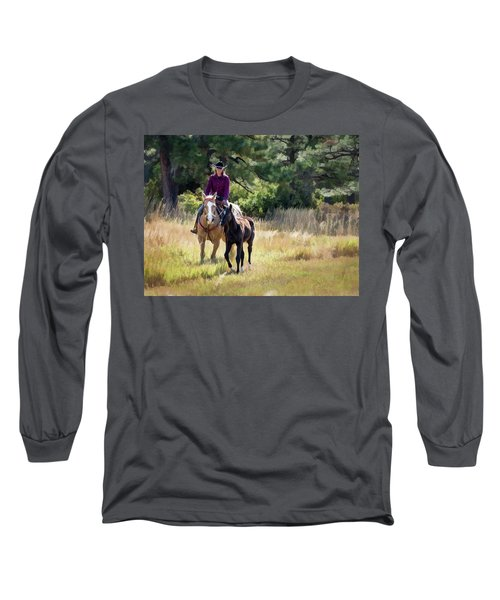 Afternoon Ride In The Sun - Cowgirl Riding Palomino Horse With Foal Long Sleeve T-Shirt