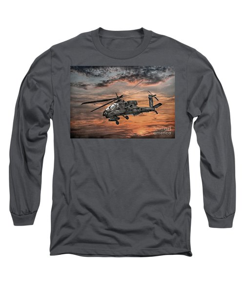 Long Sleeve T-Shirt featuring the digital art Ah-64 Apache Attack Helicopter by Randy Steele