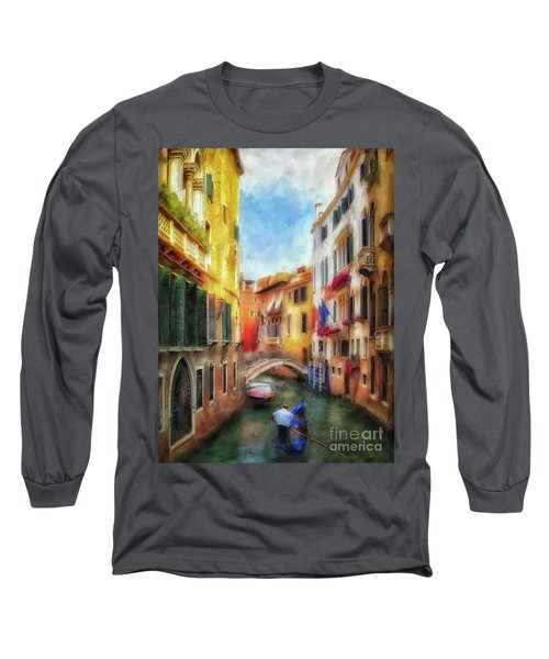 Long Sleeve T-Shirt featuring the digital art Ahh Venezia Painterly by Lois Bryan