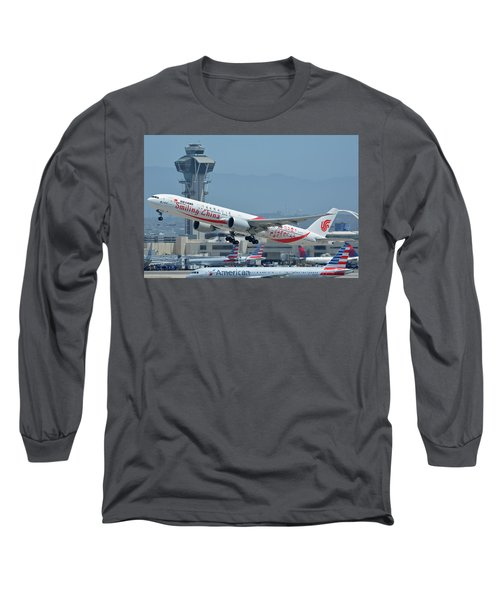 Long Sleeve T-Shirt featuring the photograph Air China Boeing 777-39ler B-2035 Smiling China Los Angeles International Airport May 3 2016 by Brian Lockett