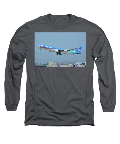 Long Sleeve T-Shirt featuring the photograph Air Tahiti Nui Airbus A340-313x F-osea Los Angeles International Airport May 3 2016 by Brian Lockett