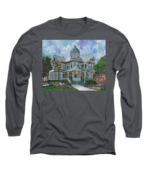 Long Sleeve T-Shirt featuring the painting Alameda 1893  Queen Anne  by Linda Weinstock