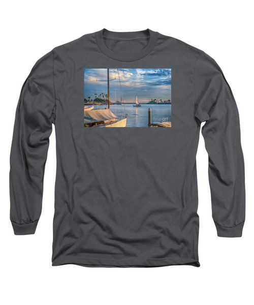 Alamitos Bay Inlet Sailboat Long Sleeve T-Shirt by David Zanzinger