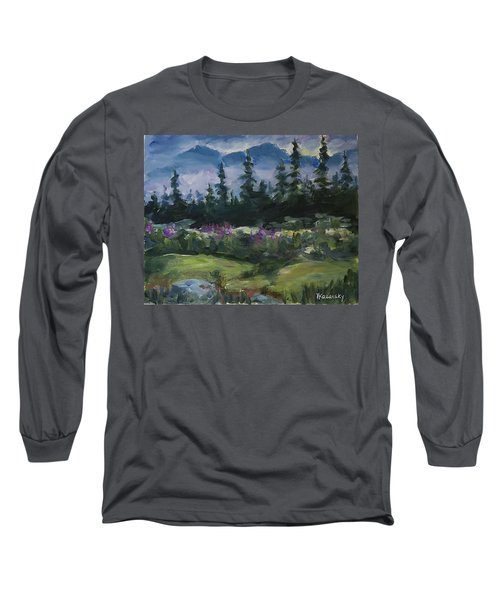Long Sleeve T-Shirt featuring the painting Alaskan Woods by Yulia Kazansky