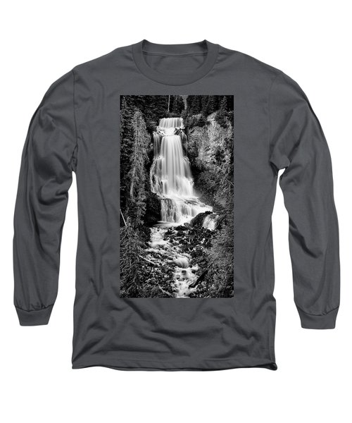 Long Sleeve T-Shirt featuring the photograph Alexander Falls - Bw 2 by Stephen Stookey
