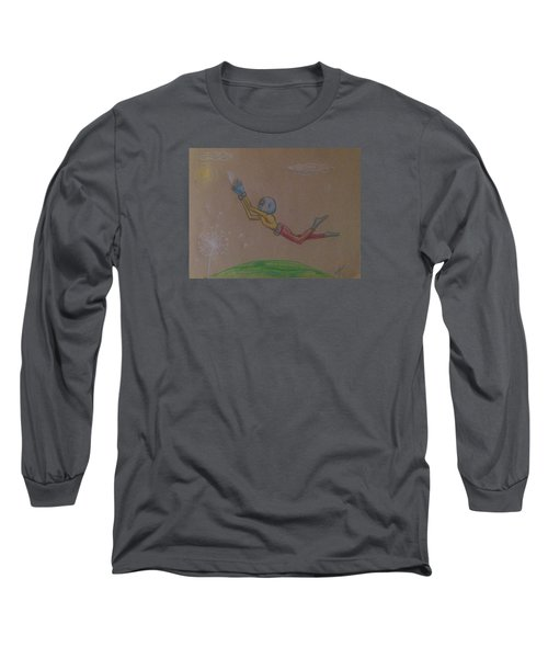 Long Sleeve T-Shirt featuring the drawing Alien Chasing His Dreams by Similar Alien