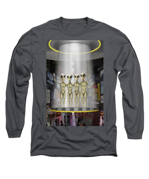 Alien Vacation - Beamed Up From Time Square Long Sleeve T-Shirt