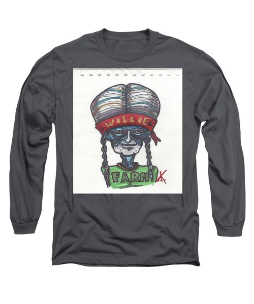 alien Willie Nelson Long Sleeve T-Shirt by Similar Alien