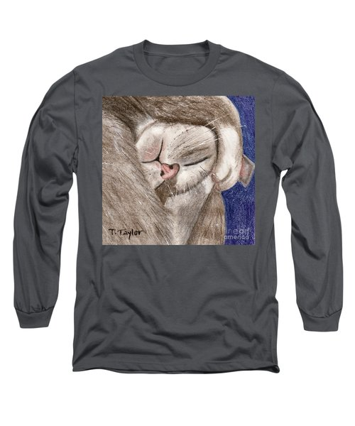 Long Sleeve T-Shirt featuring the drawing All Curled Up by Terry Taylor