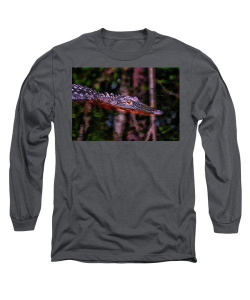 Alligator Waiting 003 Long Sleeve T-Shirt