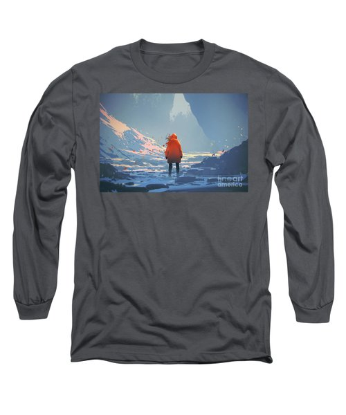 Long Sleeve T-Shirt featuring the painting Alone In Winter by Tithi Luadthong