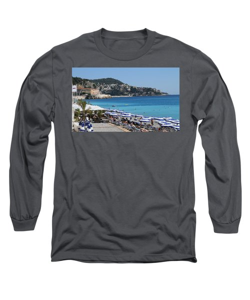 Long Sleeve T-Shirt featuring the painting Along The Beach In Nice Looking Over Toward Monaco by Rod Jellison