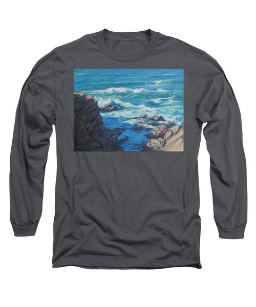 Long Sleeve T-Shirt featuring the painting Along The Cliff by Karen Ilari