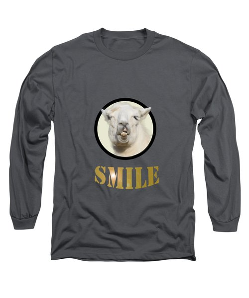 Alpaca Smile  Long Sleeve T-Shirt by Rob Hawkins