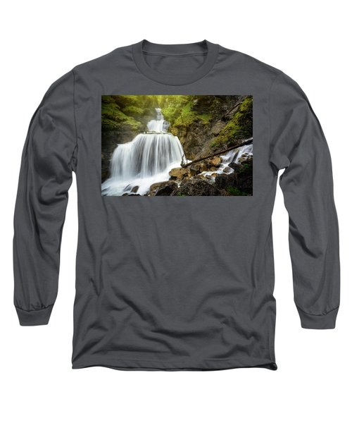 Amazing Mountain Waterfall Near Farchant Village At Garmisch Partenkirchen, Farchant, Bavaria, Germany. Long Sleeve T-Shirt
