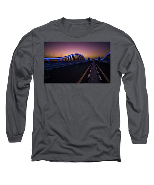 Amazing Night Dubai Vip Bridge With Beautiful Sunset. Private Ro Long Sleeve T-Shirt