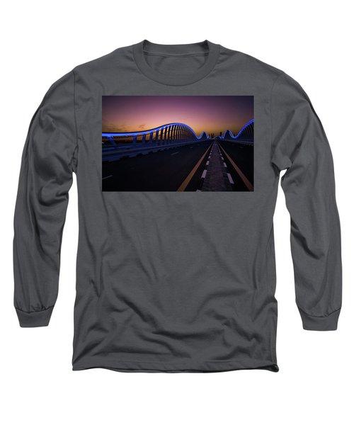 Amazing Night Dubai Vip Bridge With Beautiful Sunset. Private Ro Long Sleeve T-Shirt