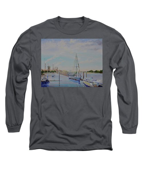 Long Sleeve T-Shirt featuring the painting Amelia Island Port by AnnaJo Vahle