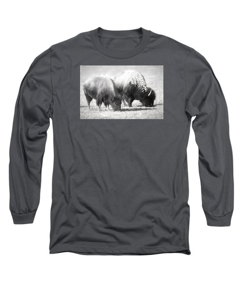 American Bison In Charcoal Long Sleeve T-Shirt by Linda Phelps