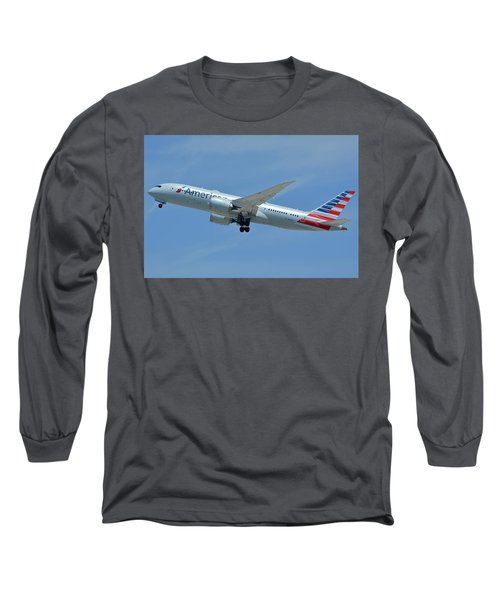 Long Sleeve T-Shirt featuring the photograph American Boeing 787-8 N808an Los Angeles International Airport May 3 2016 by Brian Lockett