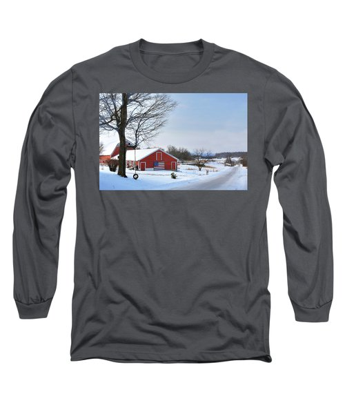 Long Sleeve T-Shirt featuring the digital art Americana Barn In Vermont by Sharon Batdorf