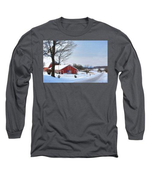 Americana Barn In Vermont Long Sleeve T-Shirt by Sharon Batdorf