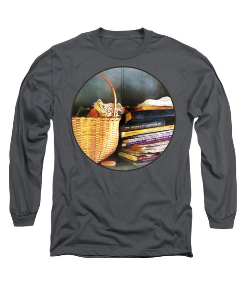 Americana - Books Basket And Quills Long Sleeve T-Shirt by Susan Savad